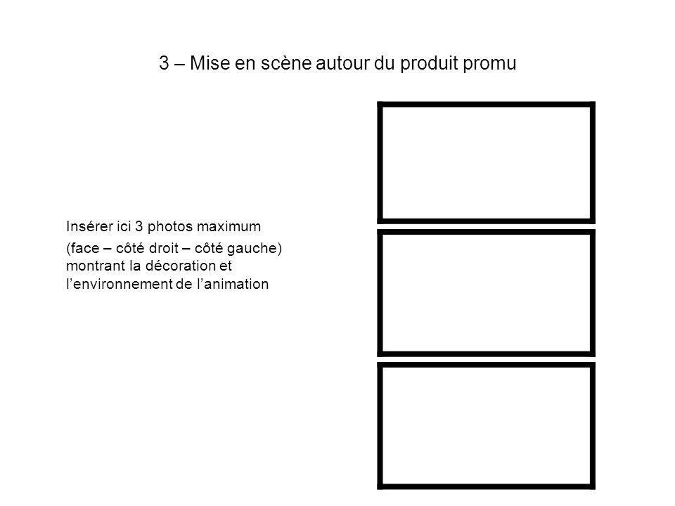 3 – Mise en scène autour du produit promu Insérer ici 3 photos maximum (face – côté droit – côté gauche) montrant la décoration et lenvironnement de lanimation