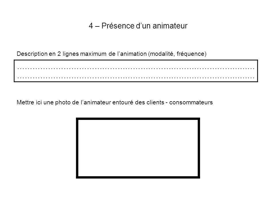4 – Présence dun animateur Description en 2 lignes maximum de lanimation (modalité, fréquence) Mettre ici une photo de lanimateur entouré des clients - consommateurs …………………………………………………………………………………