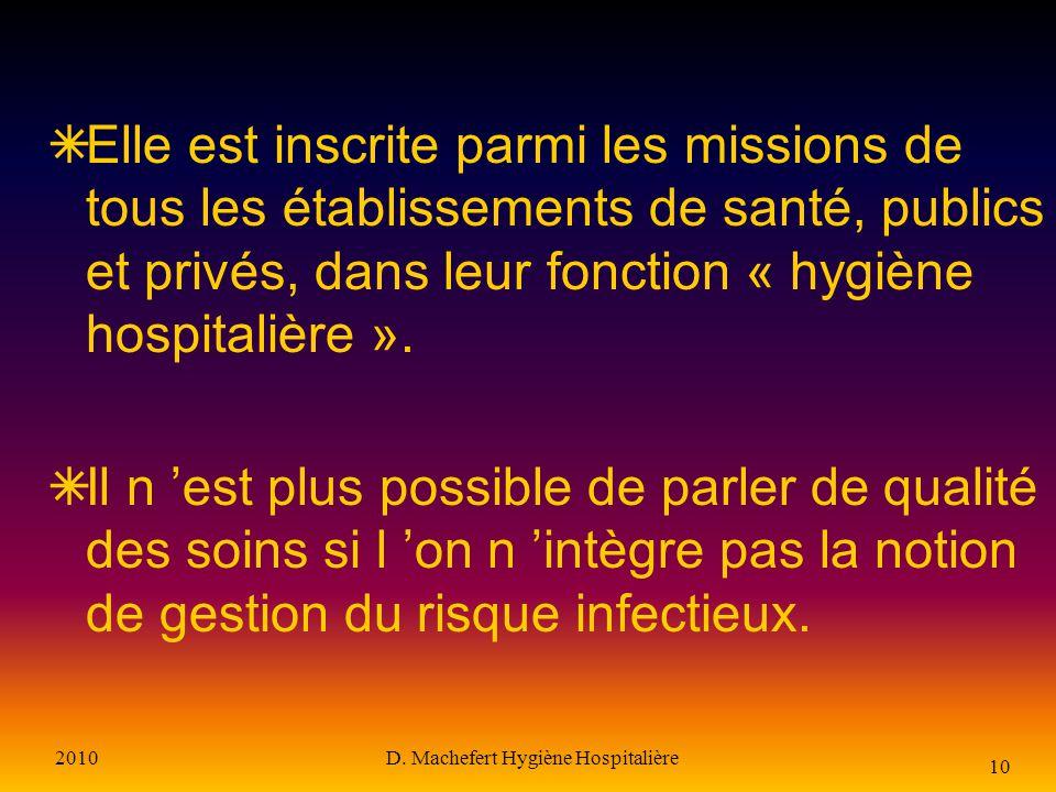 2010D. Machefert Hygiène Hospitalière 9 La prévention et la lutte contre les infections nosocomiales Est devenue une priorité de santé publique Est un