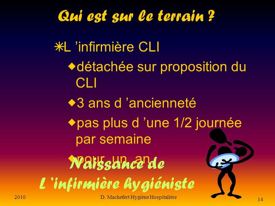 2010D. Machefert Hygiène Hospitalière 13 En France, la circulaire du 18 octobre 1973, complétée par une autre en 1975, demande la création d un CLI co