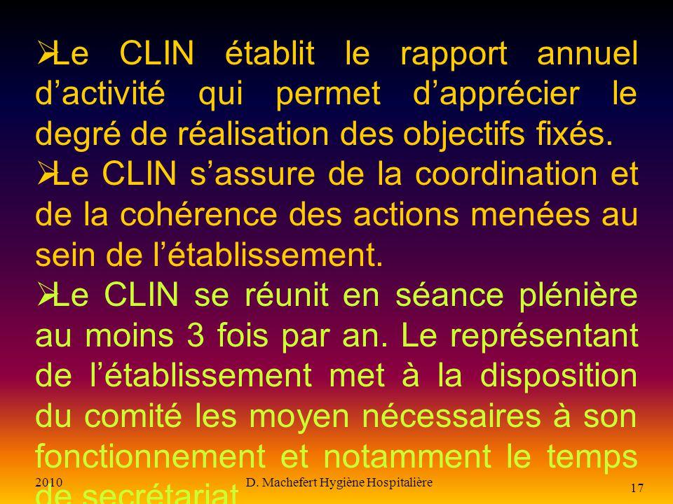 2010D. Machefert Hygiène Hospitalière 16 Le CLIN donne son avis sur : Les projets daménagement des locaux Létude des circuits Lacquisition déquipement