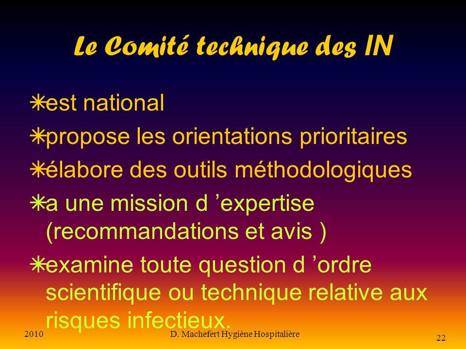 2010D. Machefert Hygiène Hospitalière 21 Les 5 Centres de coordination Sont des centres de référence pour les régions Est Ouest Sud-est Paris-Nord Sud