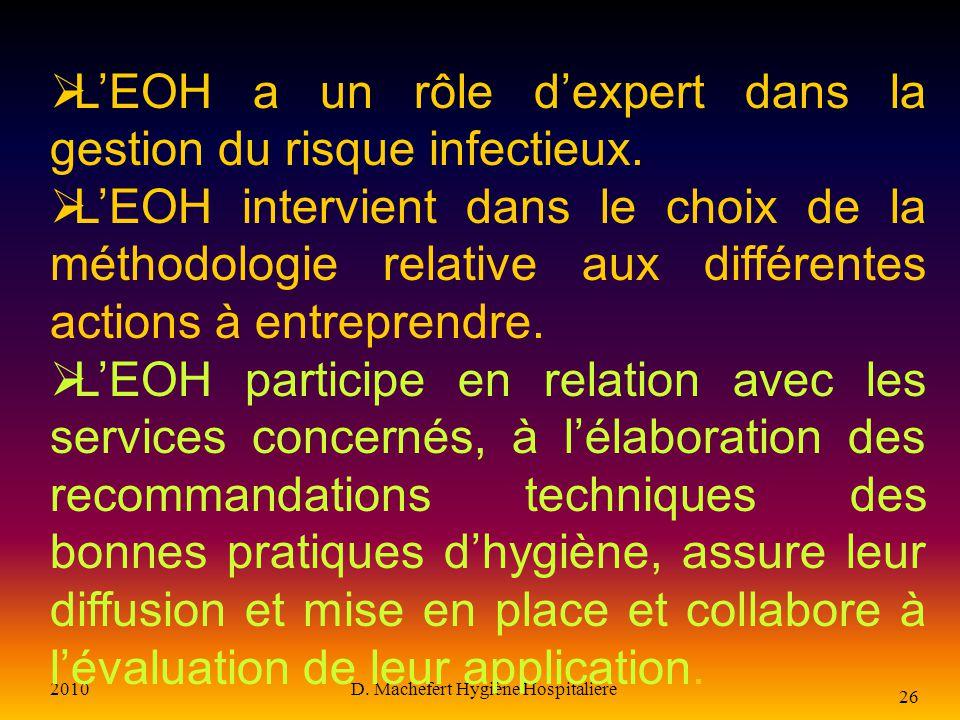 2010D. Machefert Hygiène Hospitalière 25 L équipe opérationnelle d hygiène et de prévention des IN Est composée au minimum d un médecin ou pharmacien