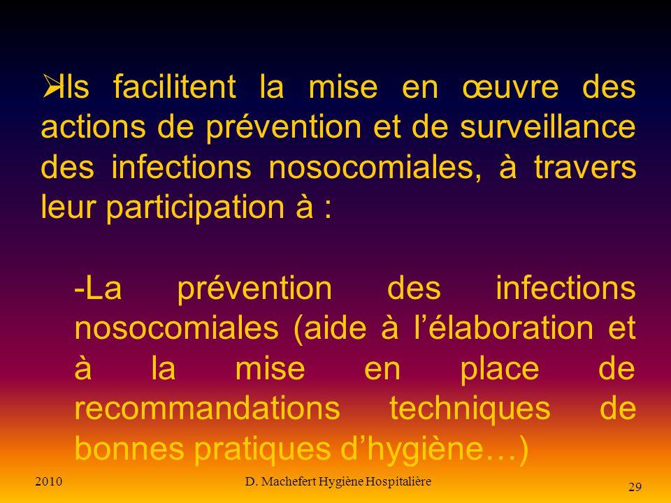 2010D. Machefert Hygiène Hospitalière 28 Les correspondants en hygiène Sont désignés parmi le personnel médical et paramédical de chaque service Sont