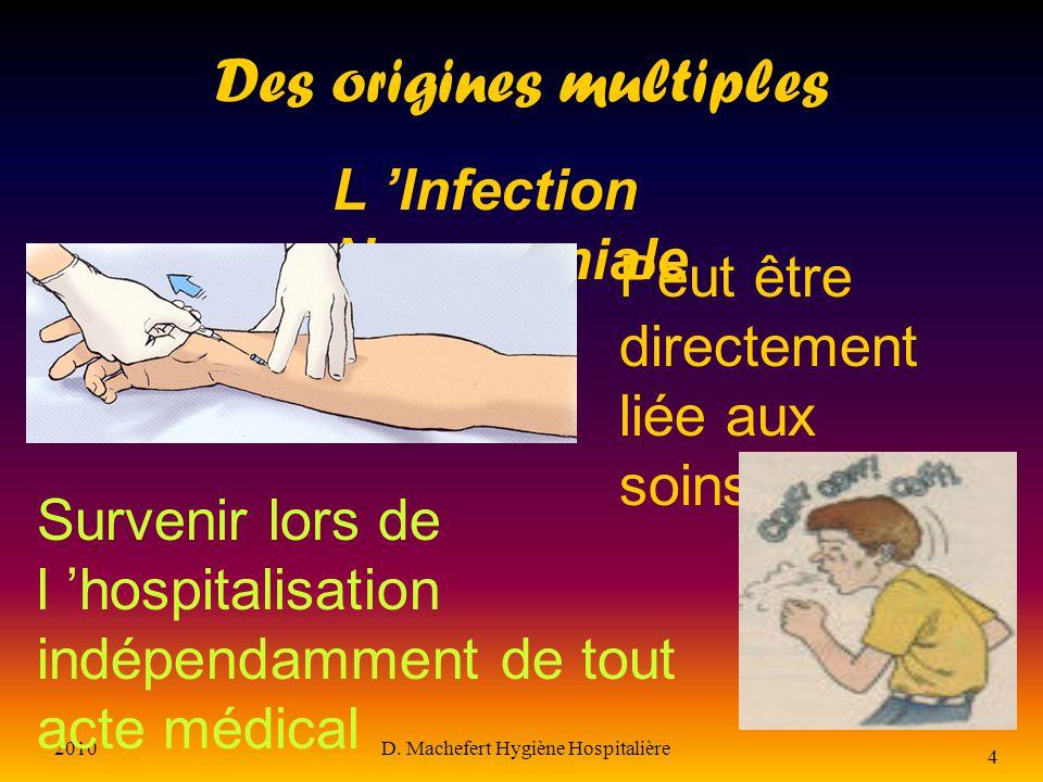 2010D. Machefert Hygiène Hospitalière 3 L infection nosocomiale Définition Infection contractée dans un établissement de soins l IN est considérée com