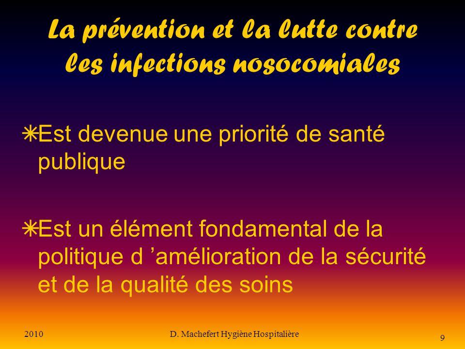 2010D. Machefert Hygiène Hospitalière 8 Conséquences les infections nosocomiales sont responsables de : l allongement de la durée de séjour la surcons