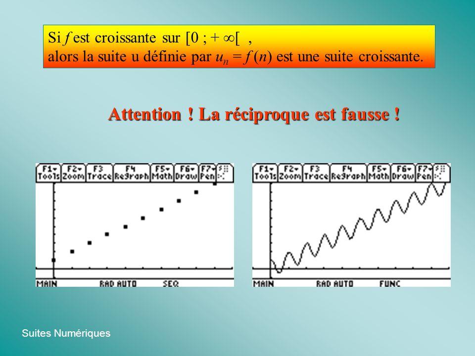 Suites Numériques Si f est croissante sur [0 ; + [, alors la suite u définie par u n = f (n) est une suite croissante. Attention ! La réciproque est f