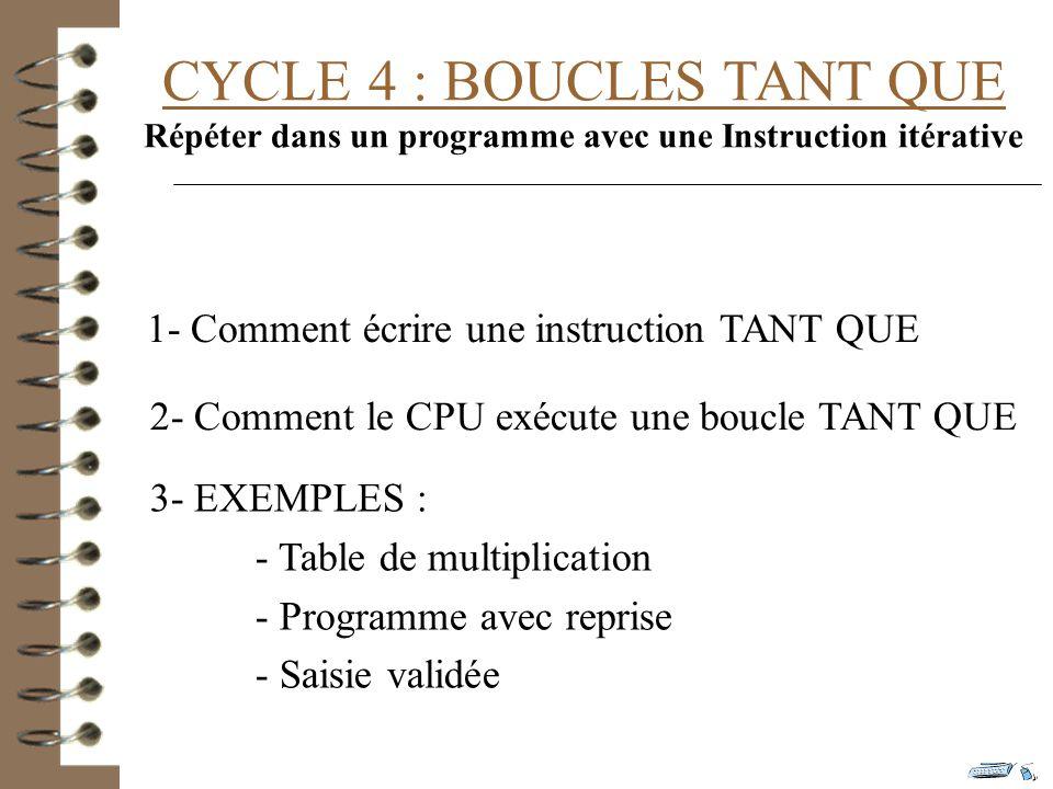 CYCLE 4 : BOUCLES TANT QUE Répéter dans un programme avec une Instruction itérative 1- Comment écrire une instruction TANT QUE 2- Comment le CPU exécute une boucle TANT QUE 3- EXEMPLES : - Table de multiplication - Programme avec reprise - Saisie validée
