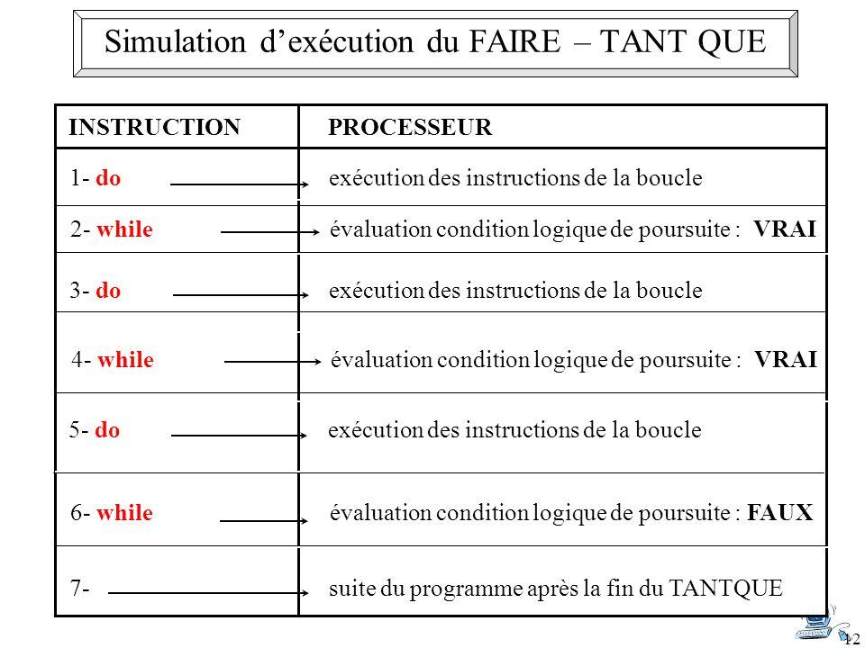 12 INSTRUCTIONPROCESSEUR 1- do exécution des instructions de la boucle 2- whileévaluation condition logique de poursuite : VRAI 4- while évaluation co