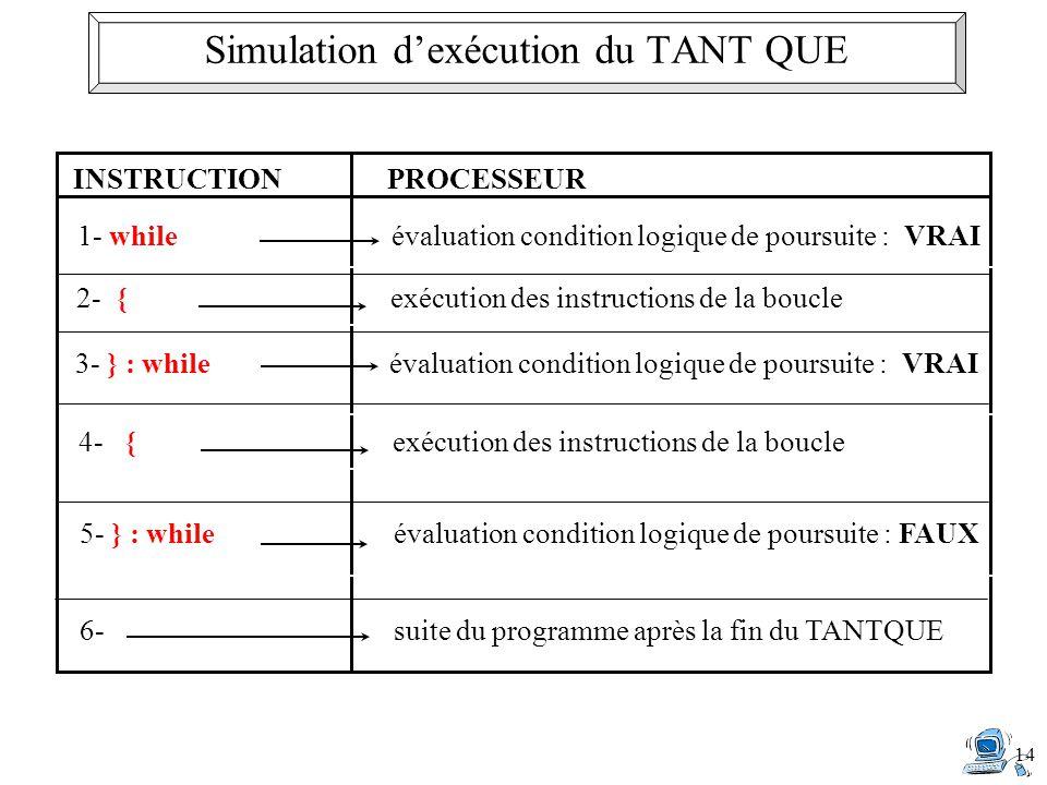14 INSTRUCTIONPROCESSEUR 2- {exécution des instructions de la boucle 1- whileévaluation condition logique de poursuite : VRAI 3- } : while évaluation