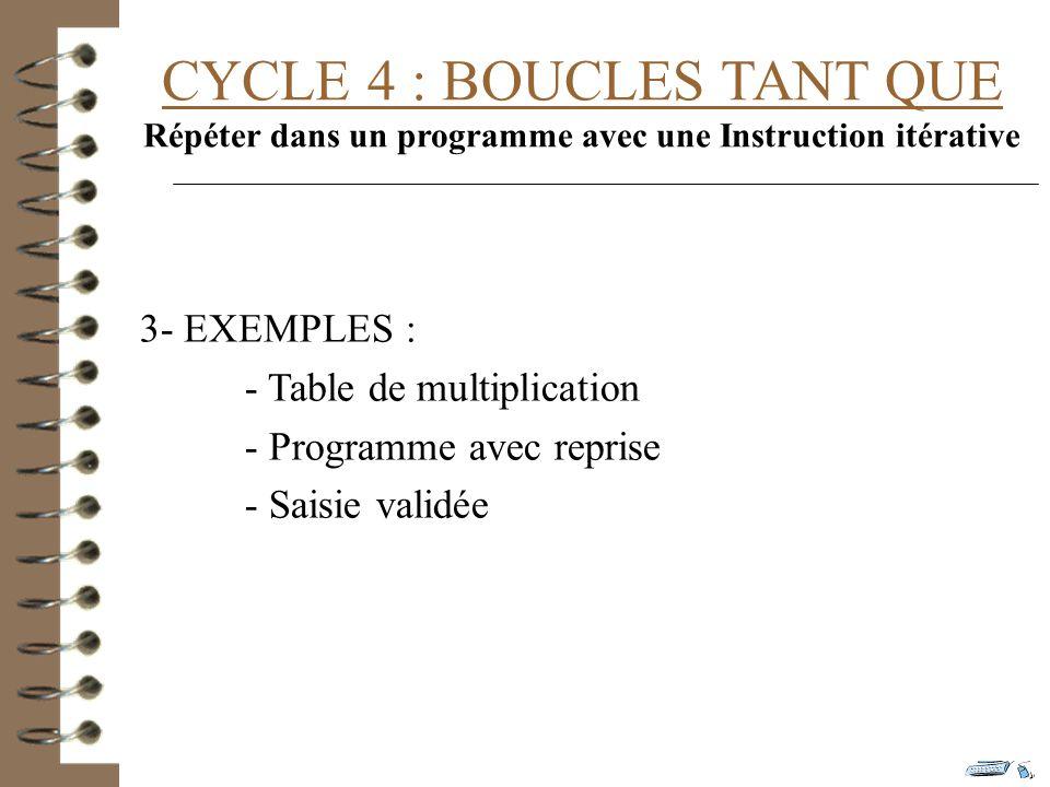 CYCLE 4 : BOUCLES TANT QUE Répéter dans un programme avec une Instruction itérative 3- EXEMPLES : - Table de multiplication - Programme avec reprise - Saisie validée
