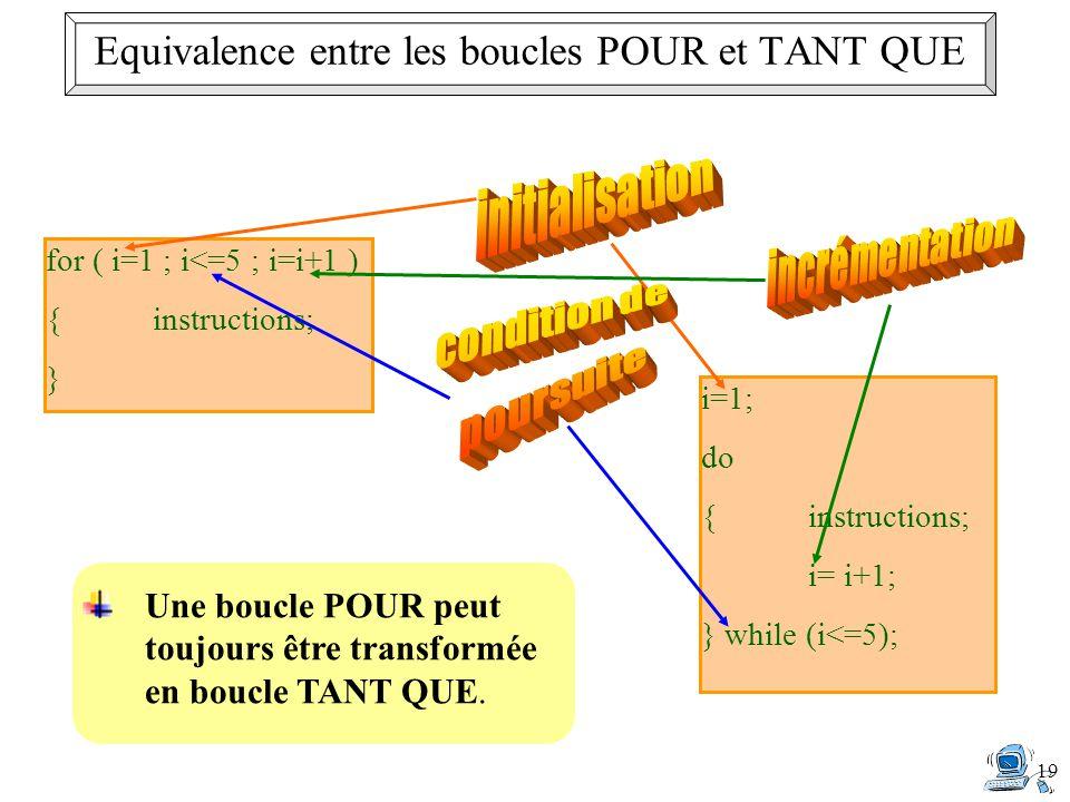 19 Une boucle POUR peut toujours être transformée en boucle TANT QUE. i=1; do {instructions; i= i+1; } while (i<=5); for ( i=1 ; i<=5 ; i=i+1 ) {instr