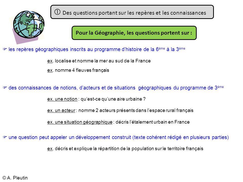 Des questions portant sur les repères et les connaissances les repères géographiques inscrits au programme dhistoire de la 6 ème à la 3 ème des connai