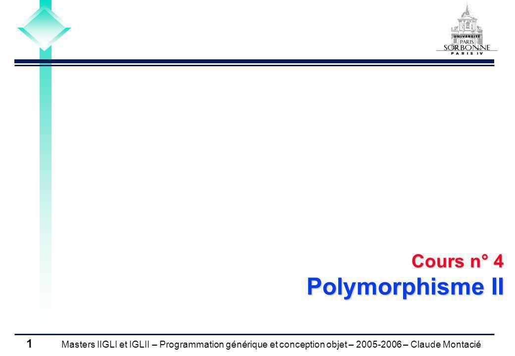 Masters IIGLI et IGLII – Programmation générique et conception objet – 2005-2006 – Claude Montacié 1 Cours n° 4 Polymorphisme II