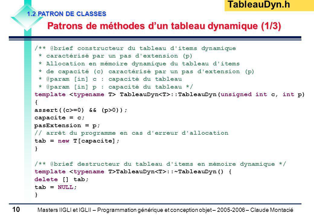 Masters IIGLI et IGLII – Programmation générique et conception objet – 2005-2006 – Claude Montacié 10 1.2 PATRON DE CLASSES Patrons de méthodes dun ta
