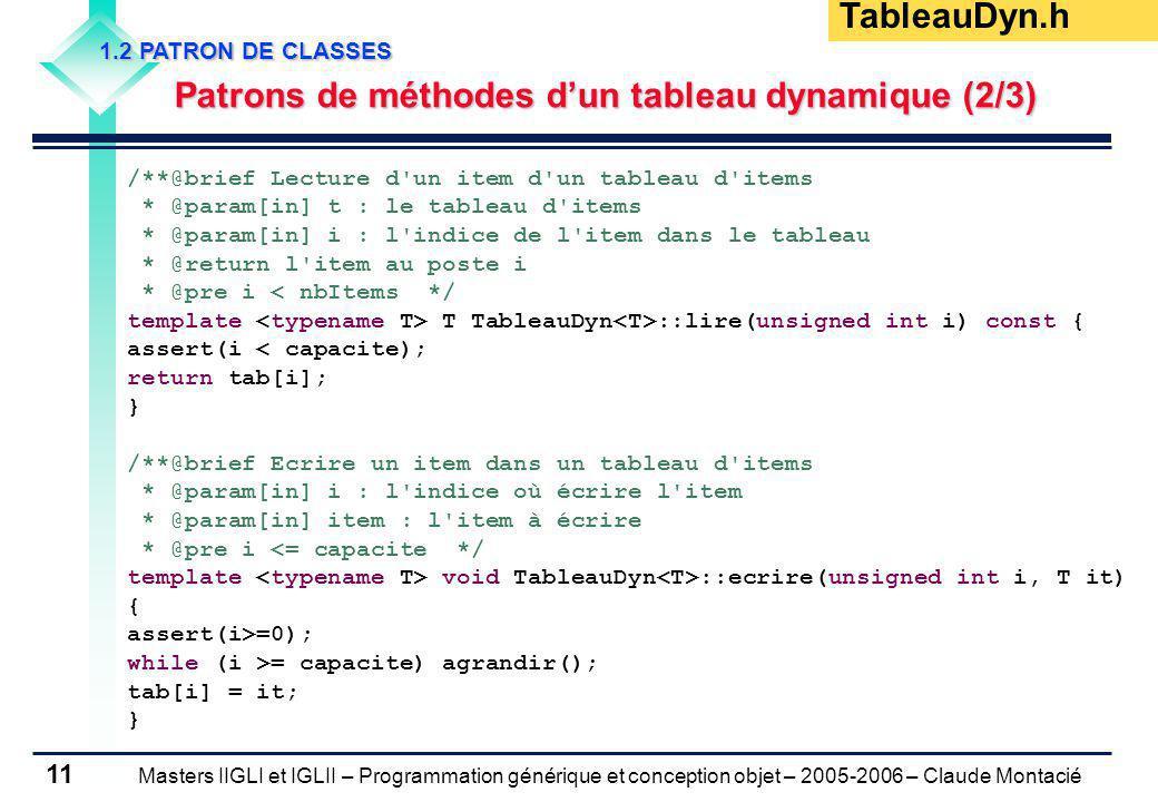 Masters IIGLI et IGLII – Programmation générique et conception objet – 2005-2006 – Claude Montacié 11 1.2 PATRON DE CLASSES Patrons de méthodes dun tableau dynamique (2/3) Patrons de méthodes dun tableau dynamique (2/3) /**@brief Lecture d un item d un tableau d items * @param[in] t : le tableau d items * @param[in] i : l indice de l item dans le tableau * @return l item au poste i * @pre i < nbItems */ template T TableauDyn ::lire(unsigned int i) const { assert(i < capacite); return tab[i]; } /**@brief Ecrire un item dans un tableau d items * @param[in] i : l indice où écrire l item * @param[in] item : l item à écrire * @pre i <= capacite */ template void TableauDyn ::ecrire(unsigned int i, T it) { assert(i>=0); while (i >= capacite) agrandir(); tab[i] = it; } TableauDyn.h