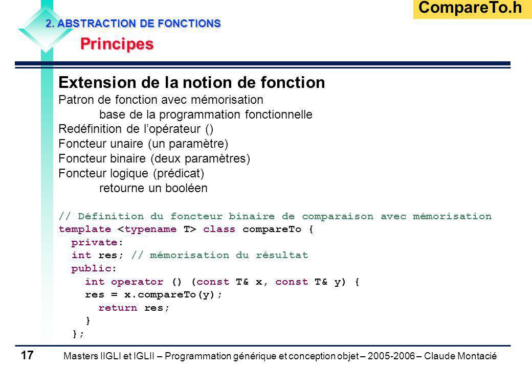 Masters IIGLI et IGLII – Programmation générique et conception objet – 2005-2006 – Claude Montacié 17 2. ABSTRACTION DE FONCTIONS Principes Principes