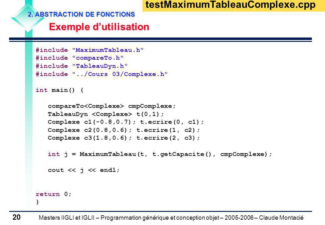 Masters IIGLI et IGLII – Programmation générique et conception objet – 2005-2006 – Claude Montacié 20 2. ABSTRACTION DE FONCTIONS Exemple dutilisation