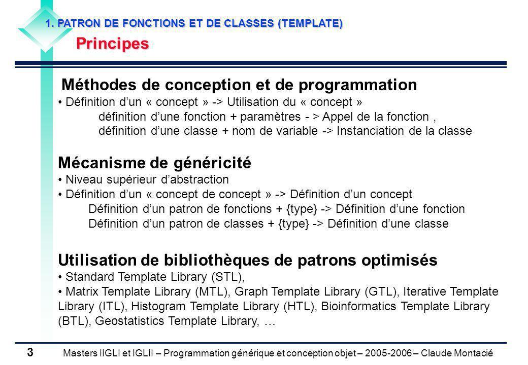 Masters IIGLI et IGLII – Programmation générique et conception objet – 2005-2006 – Claude Montacié 14 1.2 PATRON DE CLASSES Héritage (1/2) Classe dérivée dun patron de classes class B public A #include TableauDyn.h #include ../Cours 03/Chat.h class TableauDyn2Chat : public TableauDyn { public: TableauDyn2Chat(unsigned int c, int p) : TableauDyn (c, p) {} void presente() {for (int i= 0;i < capacite;i++) tab[i].presente();} }; int main() { TableauDyn2Chat t(0,1); Chat c1( Felix ); t.ecrire(0, c1); Chat c2( Potam ); t.ecrire(1, c2); t.presente(); } je m appelle Felix je m appelle Potam testTableauDyn2Chat.cpp