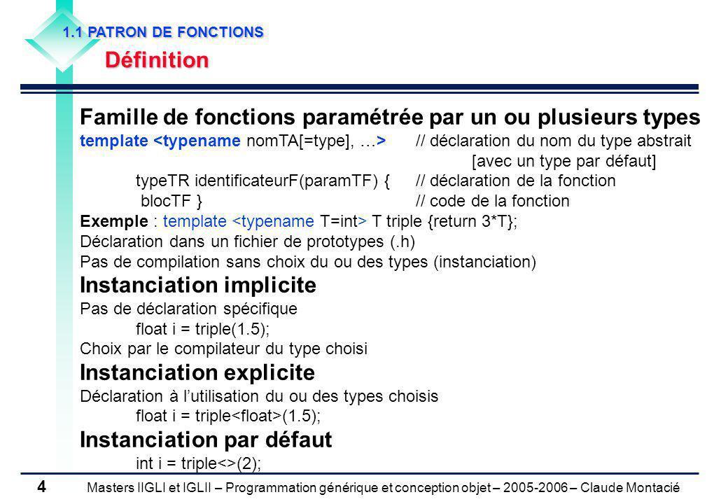 Masters IIGLI et IGLII – Programmation générique et conception objet – 2005-2006 – Claude Montacié 4 1.1 PATRON DE FONCTIONS Définition Famille de fonctions paramétrée par un ou plusieurs types template // déclaration du nom du type abstrait [avec un type par défaut] typeTR identificateurF(paramTF) {// déclaration de la fonction blocTF }// code de la fonction Exemple : template T triple {return 3*T}; Déclaration dans un fichier de prototypes (.h) Pas de compilation sans choix du ou des types (instanciation) Instanciation implicite Pas de déclaration spécifique float i = triple(1.5); Choix par le compilateur du type choisi Instanciation explicite Déclaration à lutilisation du ou des types choisis float i = triple (1.5); Instanciation par défaut int i = triple<>(2);