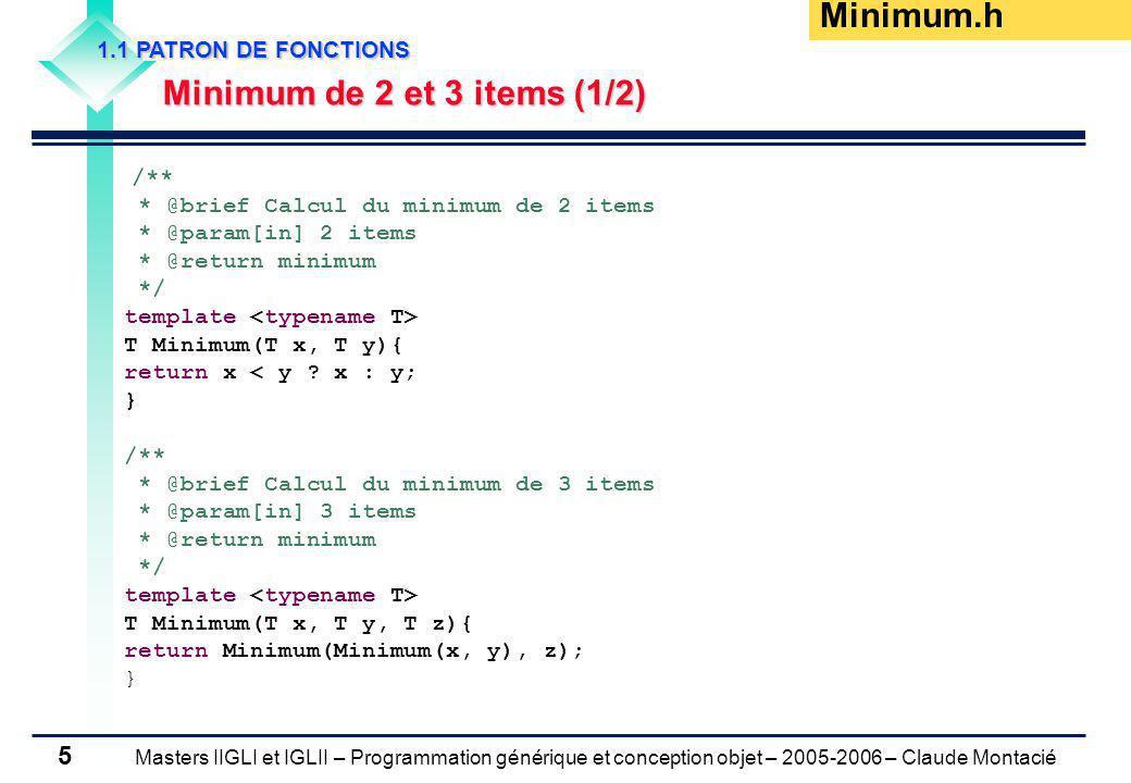 Masters IIGLI et IGLII – Programmation générique et conception objet – 2005-2006 – Claude Montacié 6 1.1 PATRON DE FONCTIONS Minimum de 2 et 3 items (2/2) #include Minimum.h #include using namespace std; int main (int argc, char *argv[]) { float x, y; cout > x >> y; cout << Minimum(x, y) << endl; int i, j; cout > i >> j; cout (i, j) << endl; float z; cout > x >> y >> z; cout (x, y, z) << endl; int k; cout > i >> j >> k; cout (i, j, k) << endl; return 0; } testMinimum.cpp