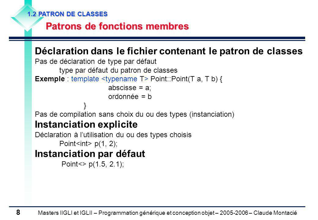 Masters IIGLI et IGLII – Programmation générique et conception objet – 2005-2006 – Claude Montacié 8 1.2 PATRON DE CLASSES Patrons de fonctions membre