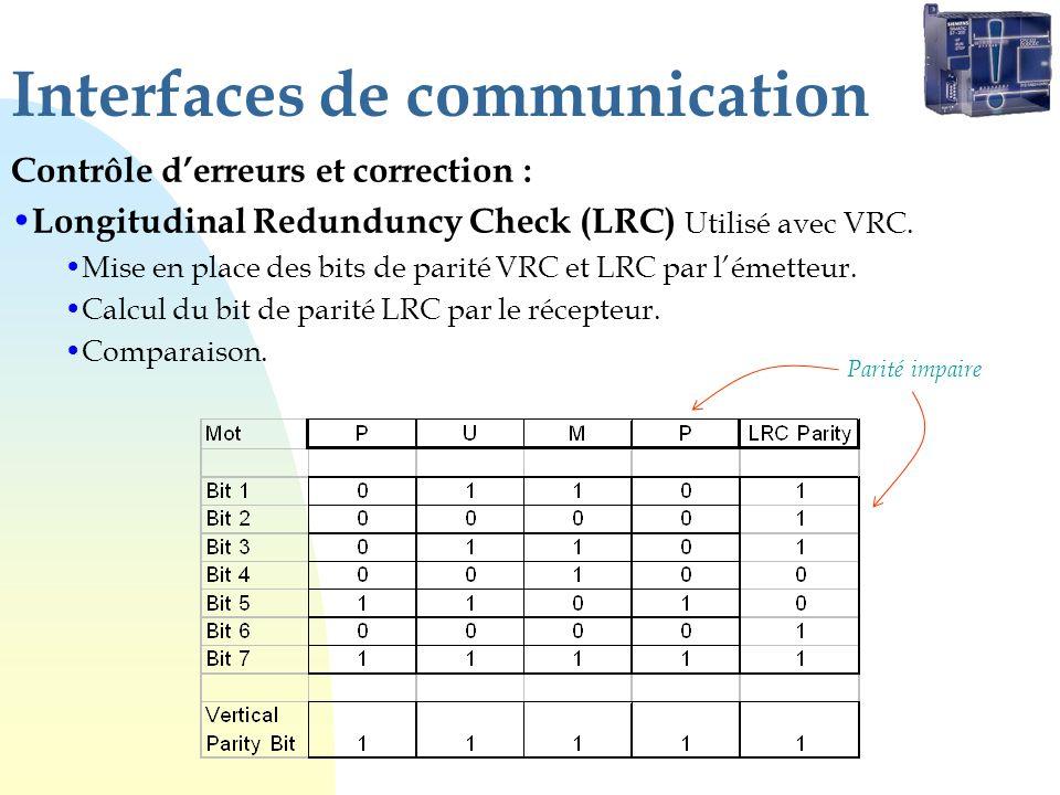 Interfaces de communication Contrôle derreurs et correction : Longitudinal Redunduncy Check (LRC) Utilisé avec VRC. Mise en place des bits de parité V