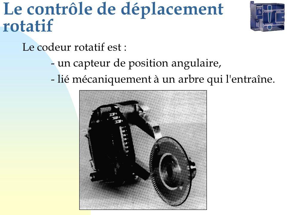 Le contrôle de déplacement rotatif Le codeur rotatif est : - un capteur de position angulaire, - lié mécaniquement à un arbre qui l'entraîne.