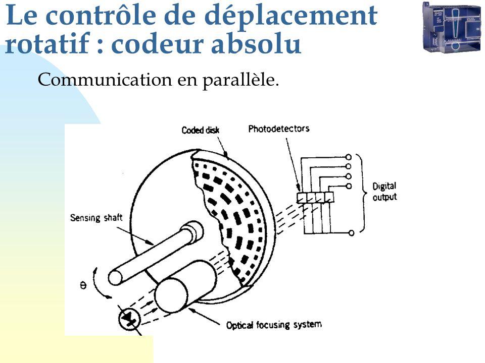 Le contrôle de déplacement rotatif : codeur absolu Communication en parallèle.