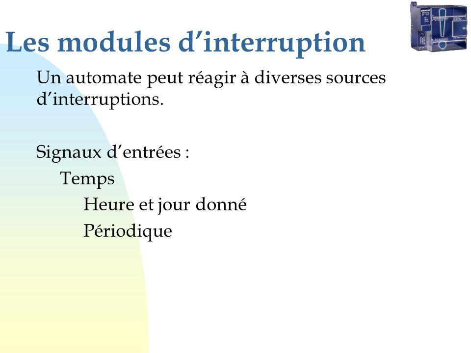 Les modules dinterruption Un automate peut réagir à diverses sources dinterruptions. Signaux dentrées : Temps Heure et jour donné Périodique