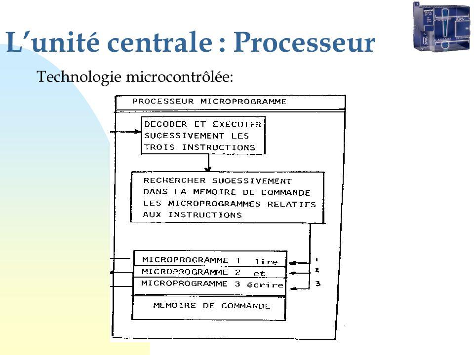 Lunité centrale : Processeur Technologie microcontrôlée: