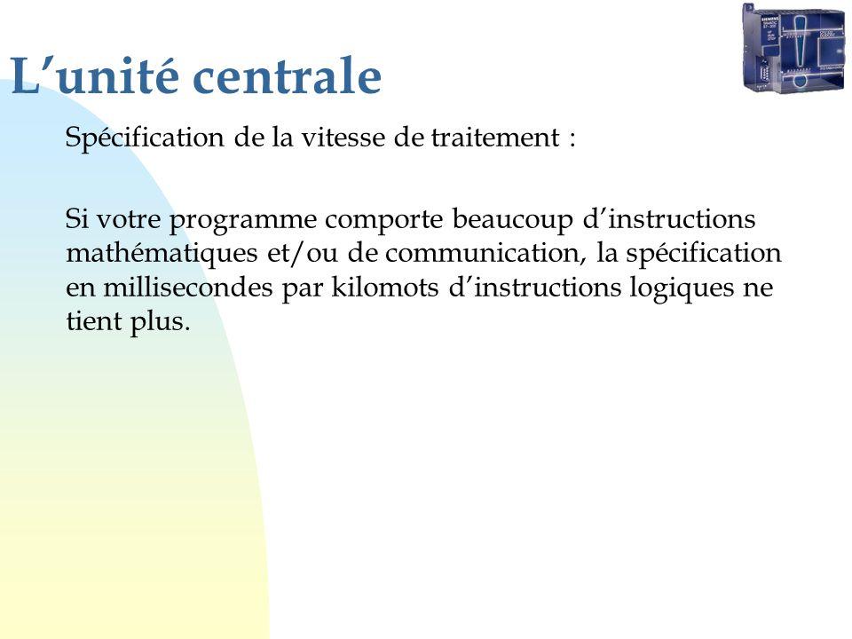 Lunité centrale Spécification de la vitesse de traitement : Si votre programme comporte beaucoup dinstructions mathématiques et/ou de communication, l