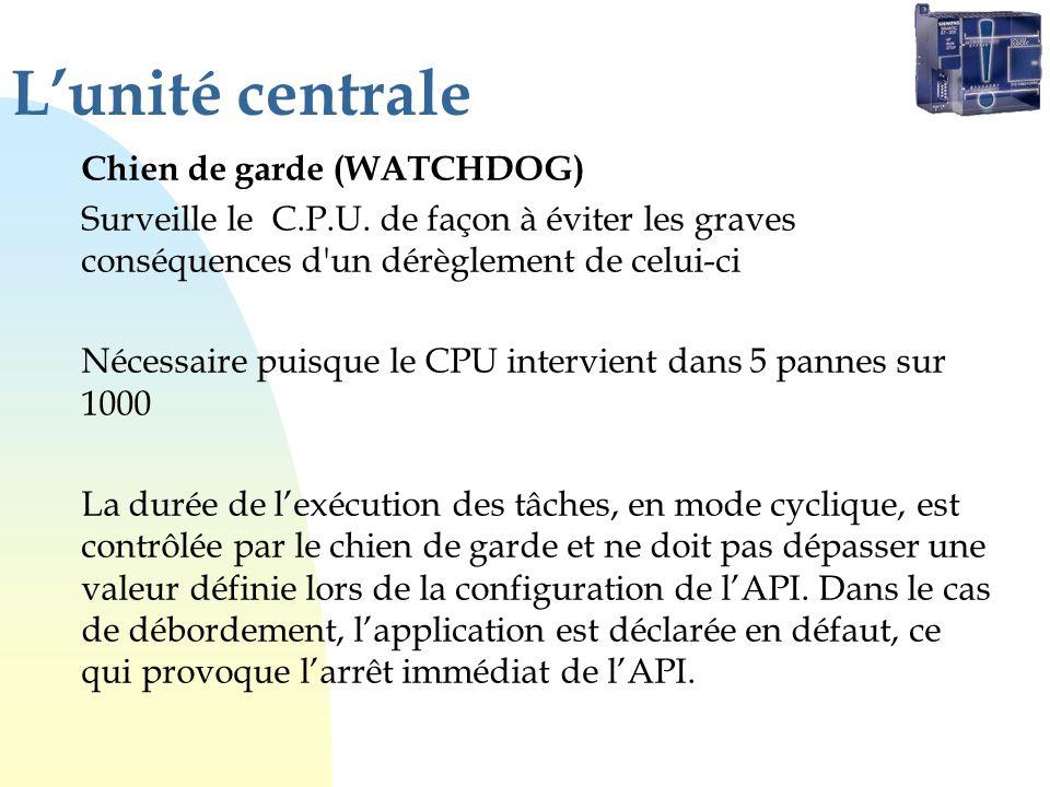 Lunité centrale Chien de garde (WATCHDOG) Surveille le C.P.U. de façon à éviter les graves conséquences d'un dérèglement de celui-ci Nécessaire puisqu