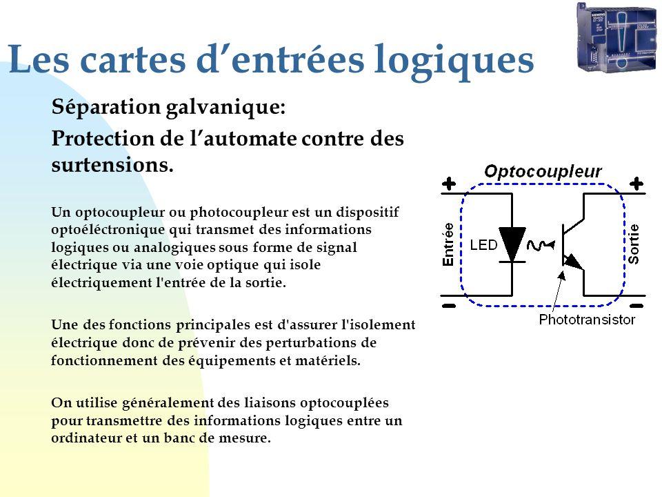 Les cartes dentrées logiques Séparation galvanique: Protection de lautomate contre des surtensions. Un optocoupleur ou photocoupleur est un dispositif