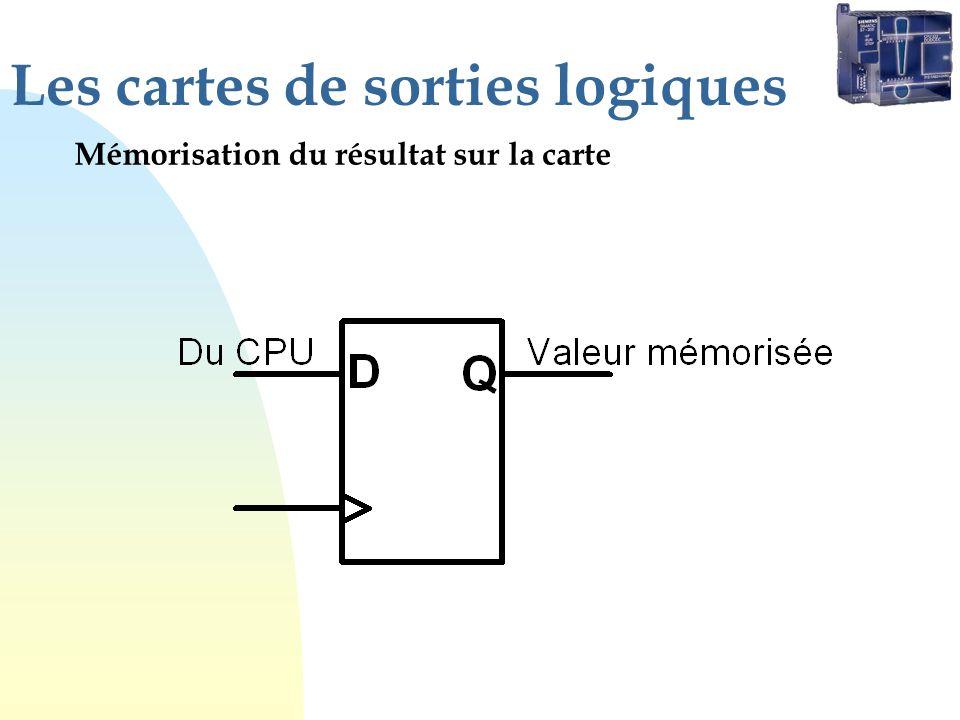 Les cartes de sorties logiques Mémorisation du résultat sur la carte