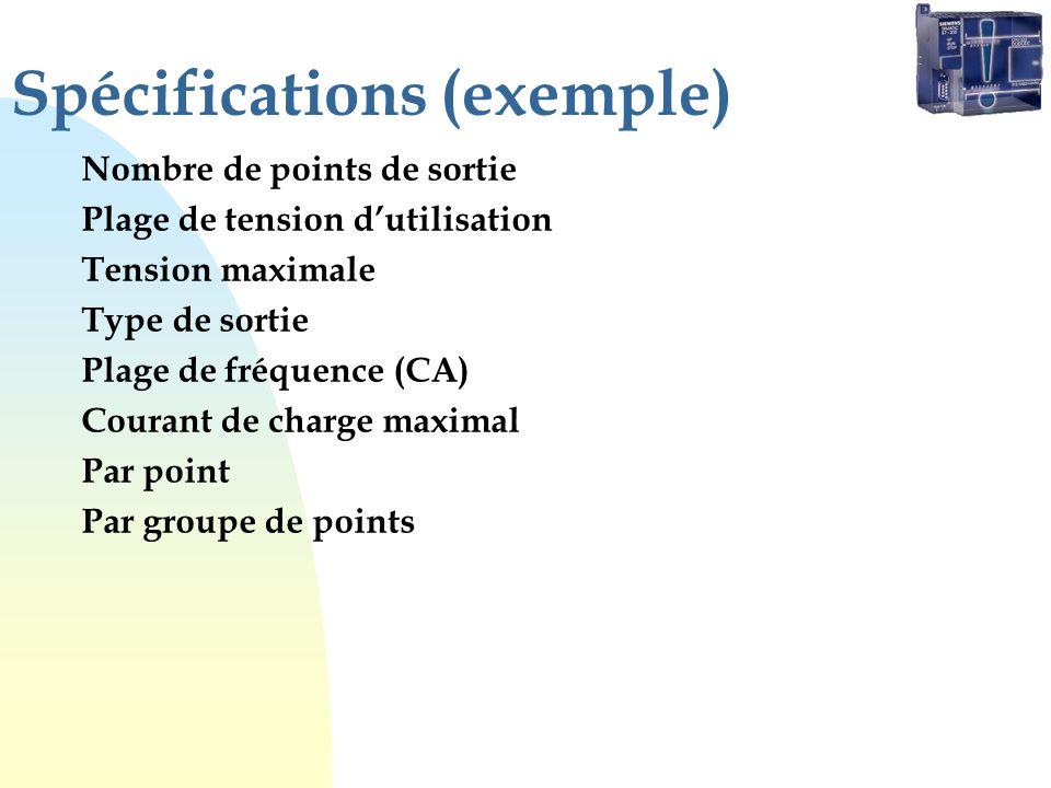 Spécifications (exemple) Nombre de points de sortie Plage de tension dutilisation Tension maximale Type de sortie Plage de fréquence (CA) Courant de c