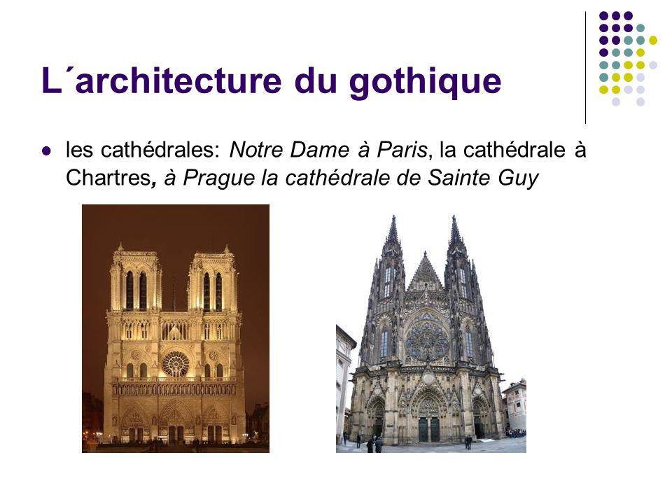 L´architecture du gothique les cathédrales: Notre Dame à Paris, la cathédrale à Chartres, à Prague la cathédrale de Sainte Guy