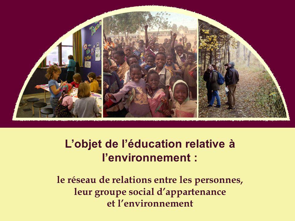 Lobjet de léducation relative à lenvironnement : le réseau de relations entre les personnes, leur groupe social dappartenance et lenvironnement