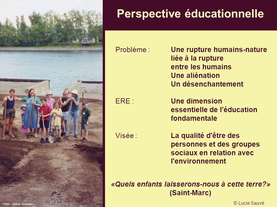 Perspective éducationnelle Problème : Une rupture humains-nature liée à la rupture entre les humains Une aliénation Un désenchantement ERE : Une dimen