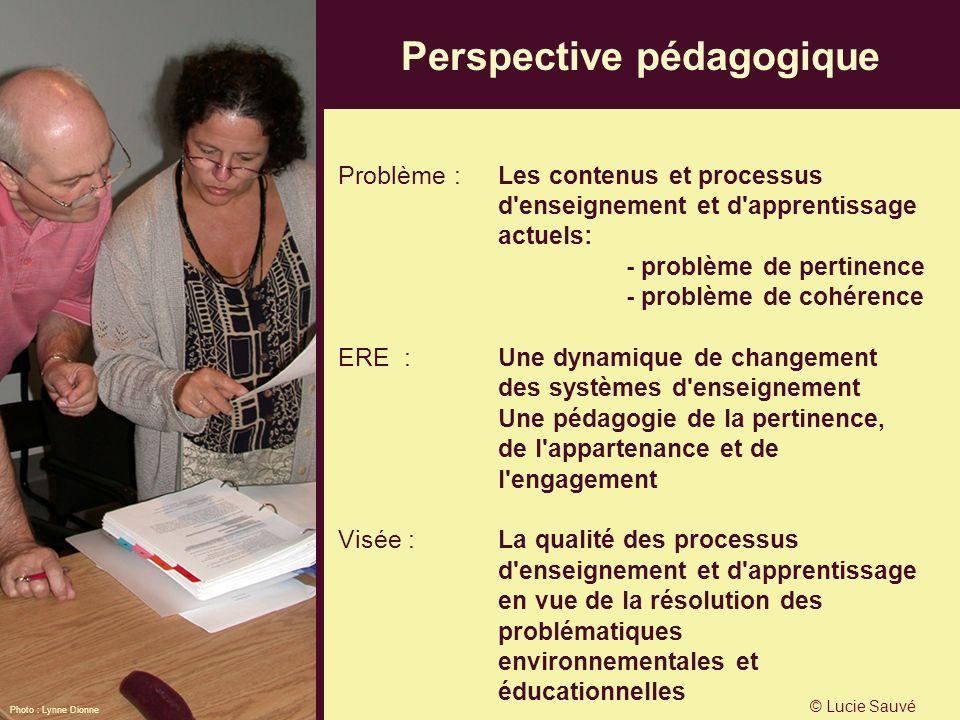 Perspective pédagogique Problème : Les contenus et processus d'enseignement et d'apprentissage actuels: - problème de pertinence - problème de cohéren