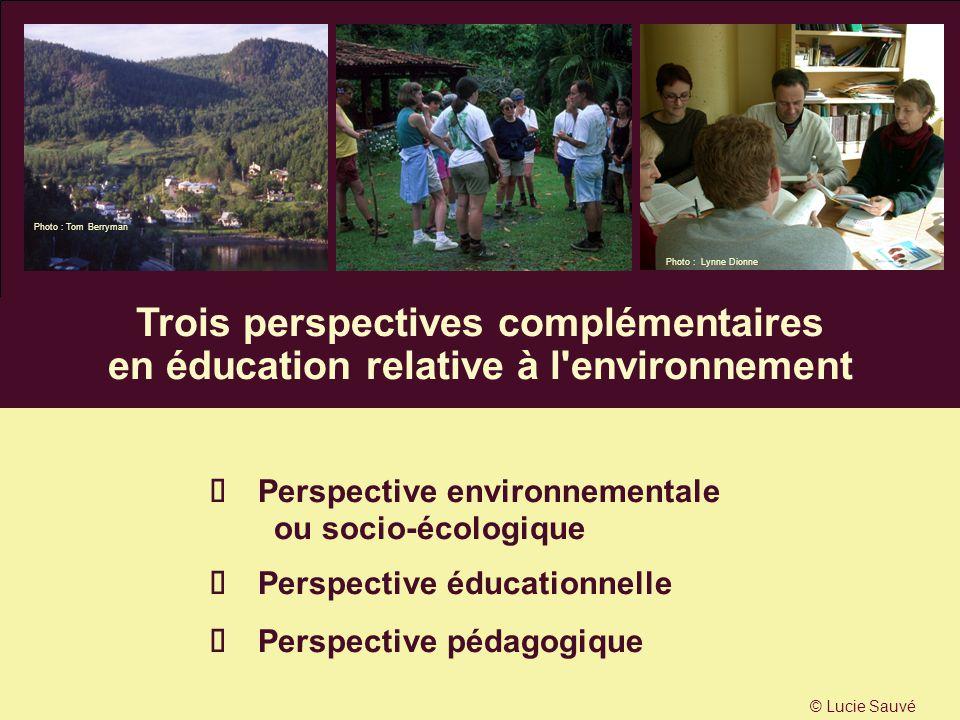 Trois perspectives complémentaires en éducation relative à l'environnement Perspective environnementale ou socio-écologique Perspective éducationnelle