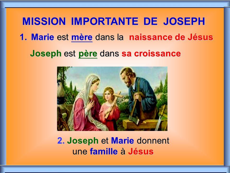 .. JOSEPH : PÈRE NOURRICIER La paternité de Joseph est spécial: Jésus, fils de Marie et fils du Père éternel, a été confié à Joseph. Il en a la garde,