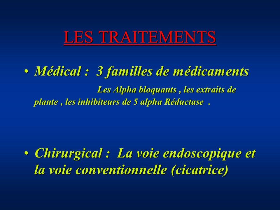 LES TRAITEMENTS Médical : 3 familles de médicaments Les Alpha bloquants, les extraits de plante, les inhibiteurs de 5 alpha Réductase.Médical : 3 fami