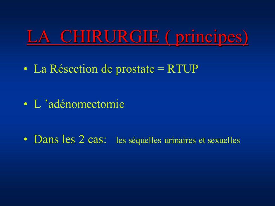 LA CHIRURGIE ( principes) La Résection de prostate = RTUP L adénomectomie Dans les 2 cas: les séquelles urinaires et sexuelles