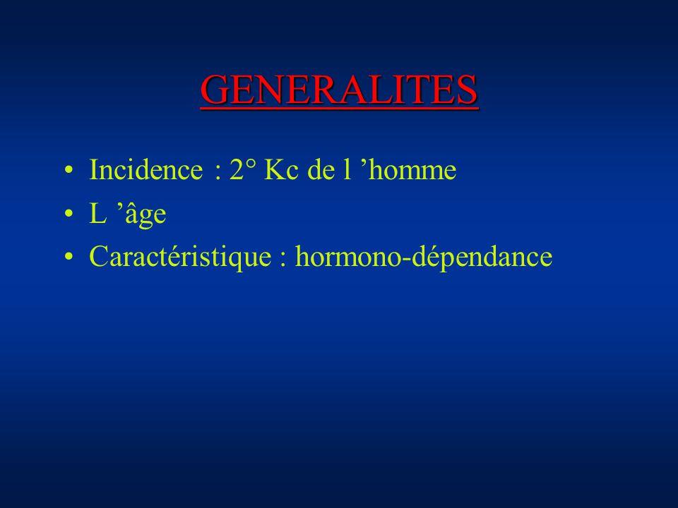 GENERALITES Incidence : 2° Kc de l homme L âge Caractéristique : hormono-dépendance