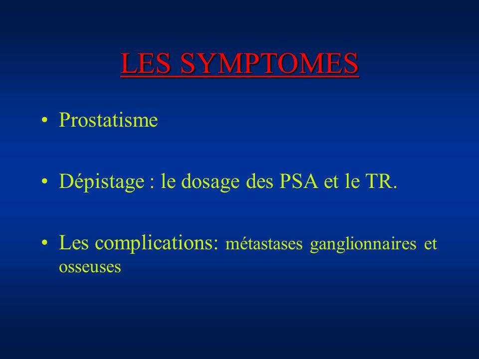 LES SYMPTOMES Prostatisme Dépistage : le dosage des PSA et le TR. Les complications: métastases ganglionnaires et osseuses
