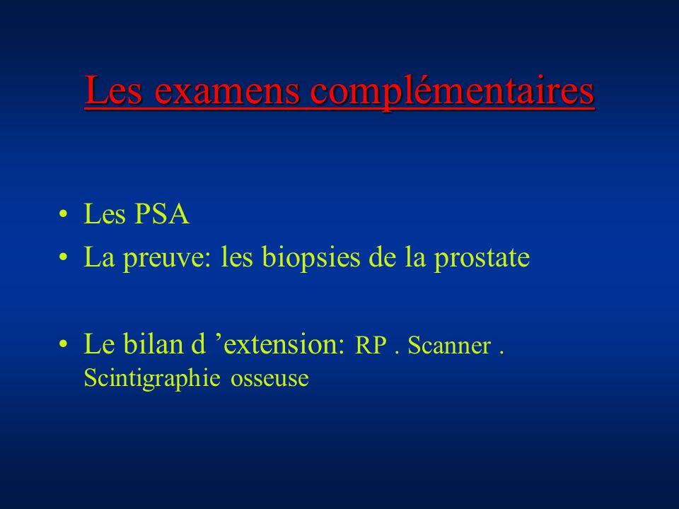 Les examens complémentaires Les PSA La preuve: les biopsies de la prostate Le bilan d extension: RP. Scanner. Scintigraphie osseuse