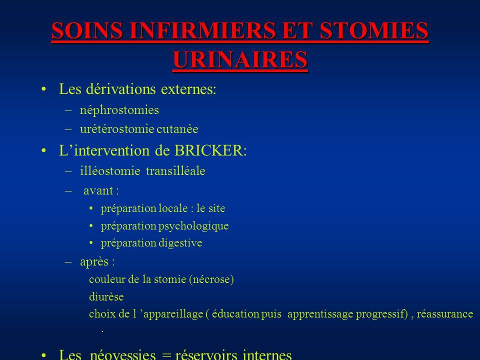 SOINS INFIRMIERS ET STOMIES URINAIRES Les dérivations externes: –néphrostomies –urétérostomie cutanée Lintervention de BRICKER: –illéostomie transillé