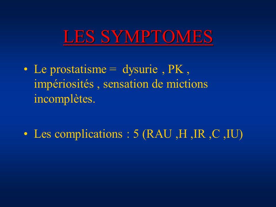 LES SYMPTOMES Le prostatisme = dysurie, PK, impériosités, sensation de mictions incomplètes. Les complications : 5 (RAU,H,IR,C,IU)