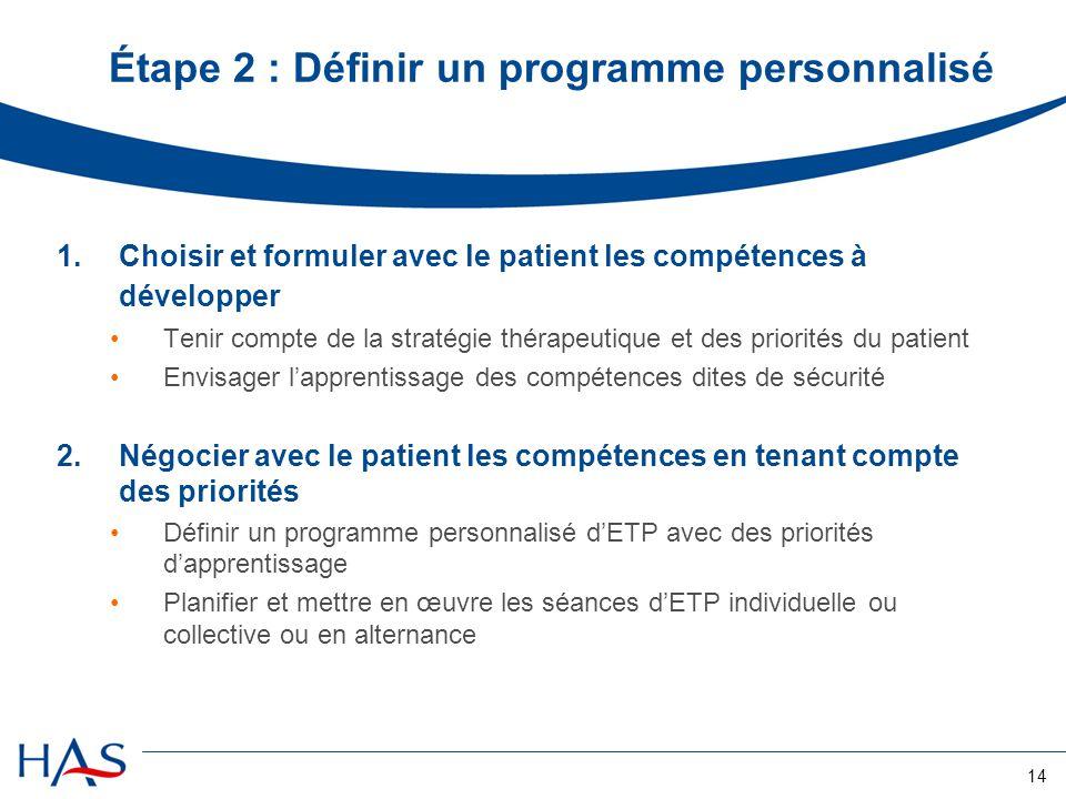 14 Étape 2 : Définir un programme personnalisé 1.Choisir et formuler avec le patient les compétences à développer Tenir compte de la stratégie thérape